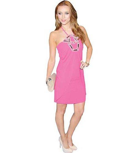 A Lifesize Cardboard Cutout of Una Healy wearing a pink dress