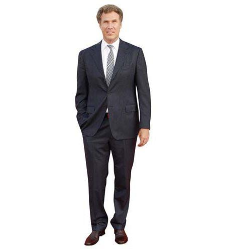 A Lifesize Cardboard Cutout of Will Ferrell wearing a suit and tie