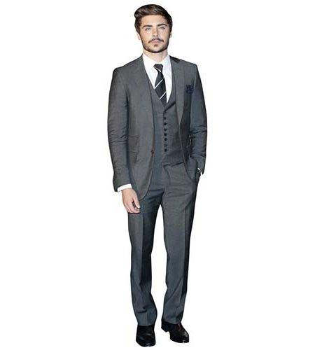 A Lifesize Cardboard Cutout of Zac Efron wearing a suit and tie