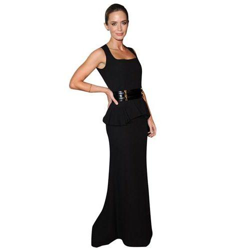 A Lifesize Cardboard Cutout of Emily Blunt wearing a cocktail dress