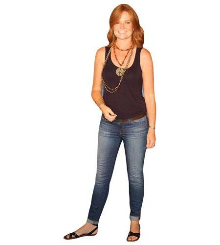 A Lifesize Cardboard Cutout of Patsy Palmer wearing jeans and a vest