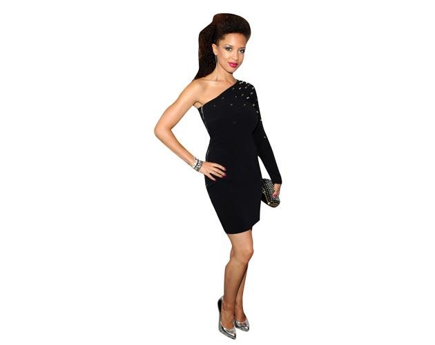 A Lifesize Cardboard Cutout of Natalie Gumede wearing an off the shoulder dress