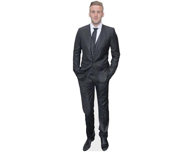 A Lifesize Cardboard Cutout of Luke Shaw wearing a grey suit