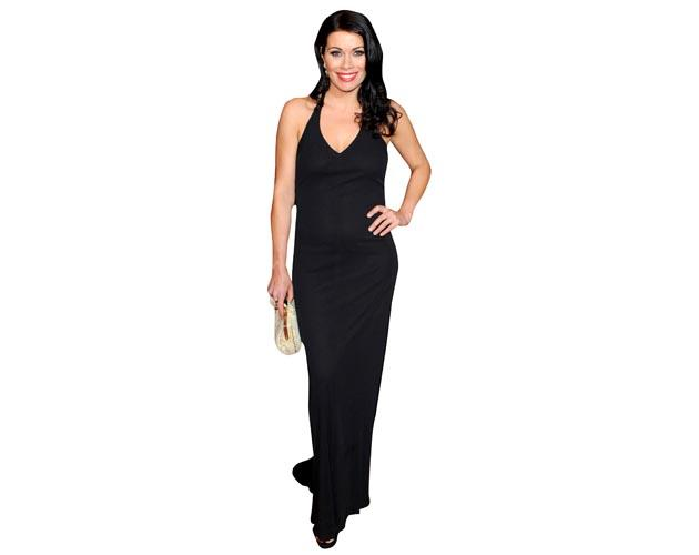 A Lifesize Cardboard Cutout of Alison King wearing a floor length ensemble