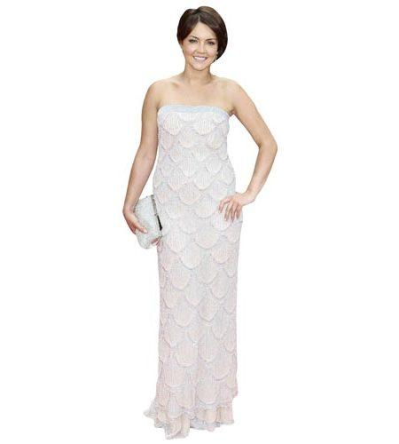 A Lifesize Cardboard Cutout of Lacey Turner wearing a full length dress