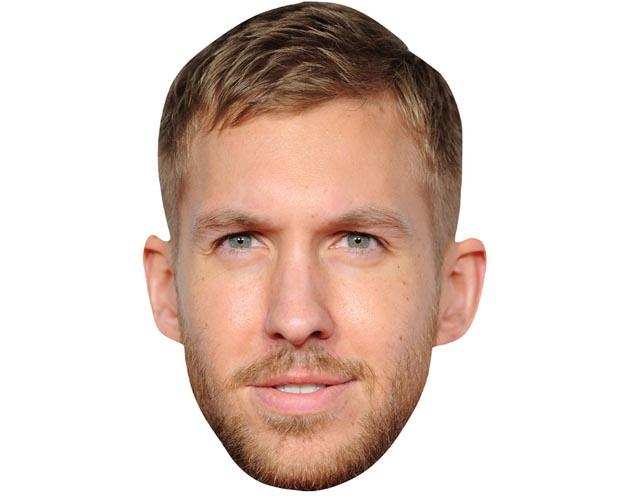 A Cardboard Celebrity Mask of Calvin Harris