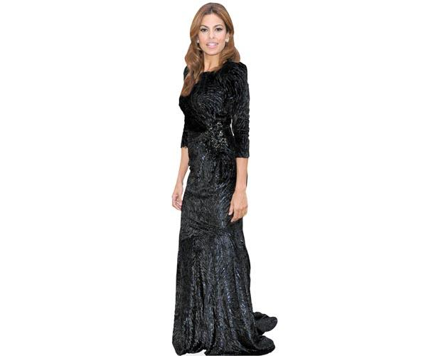 A Lifesize Cardboard Cutout of Eva Mendes wearing a full length gown