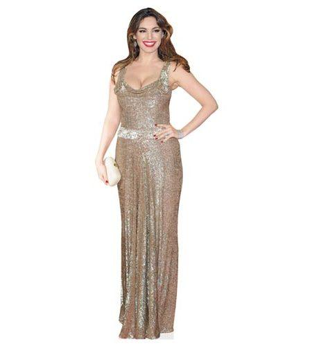 A Lifesize Cardboard Cutout of Kelly Brook wearing a gold dress
