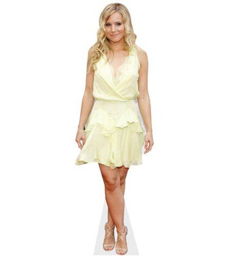 A Lifesize Cardboard Cutout of Kristen Bell wearing a lemon dress