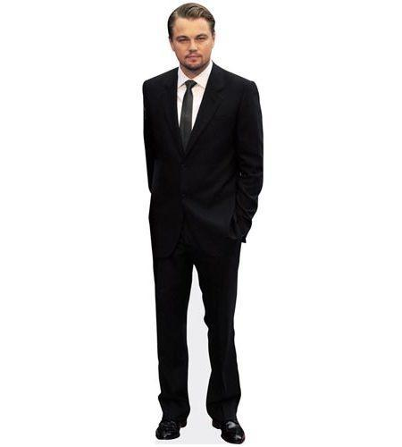 A Lifesize Cardboard Cutout of Leonardo Di Caprio wearing a suit and tie