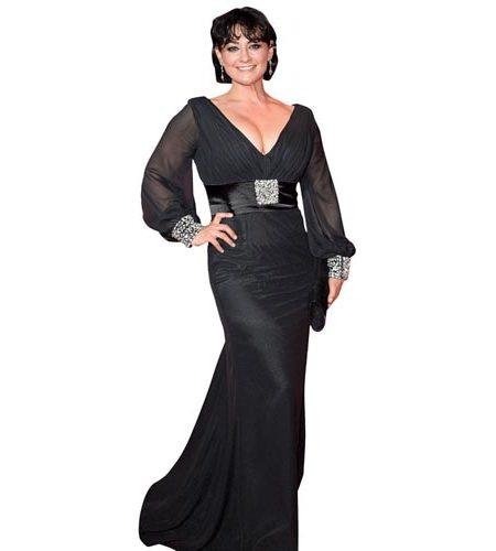 A Lifesize Cardboard Cutout of Natalie J Robb wearing a black gown