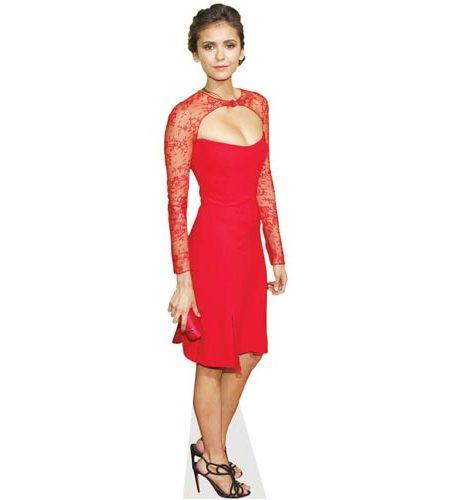 A Lifesize Cardboard Cutout of Nina Dobrev wearing a red dress