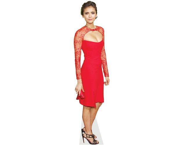 A Lifesize Cardboard Cutout of Nina Dobrev wearing a red dress