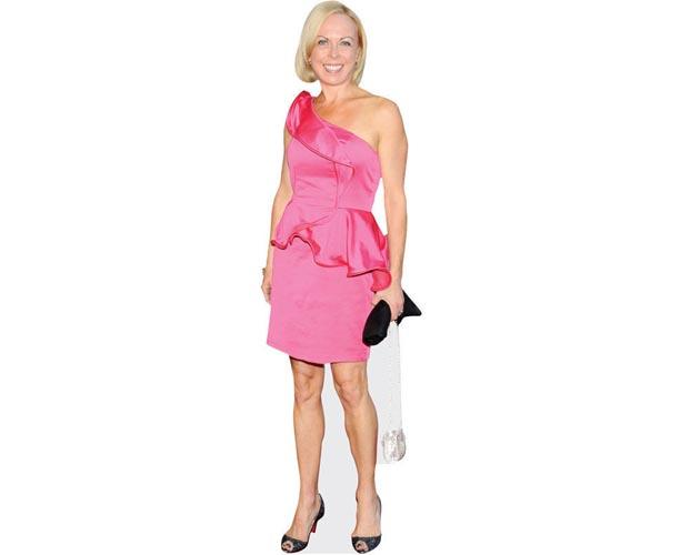 A Lifesize Cardboard Cutout of Jayne Torvill wearing a pink dress