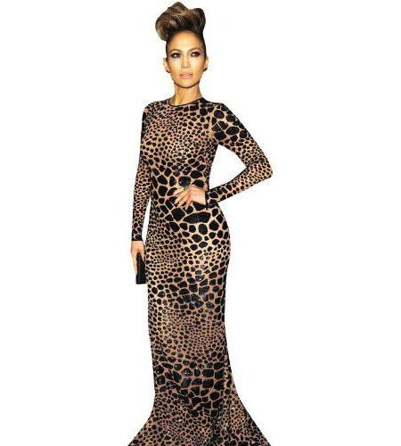 A Lifesize Cardboard Cutout of Jennifer Lopez wearing leopard print