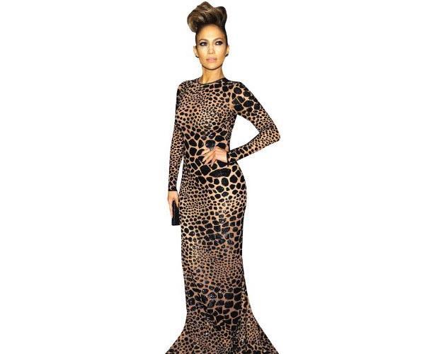 A Lifesize Cardboard Cutout of Jennifer Lopez wearing leopard print
