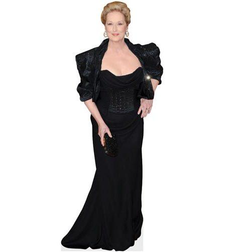 A Lifesize Cardboard Cutout of Meryl Streep wearing a black gown