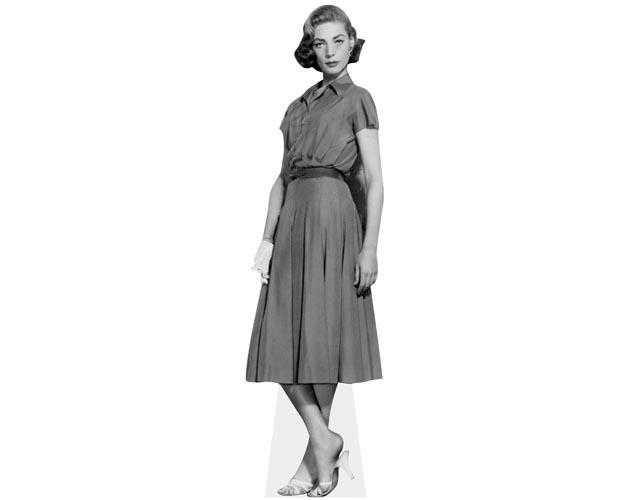 A Lifesize Cardboard Cutout of Lauren Bacall in black and white