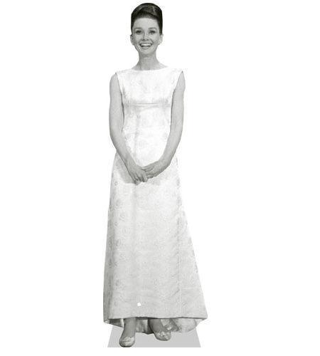 A Lifesize Cardboard Cutout of Audrey Hepburnwearing white
