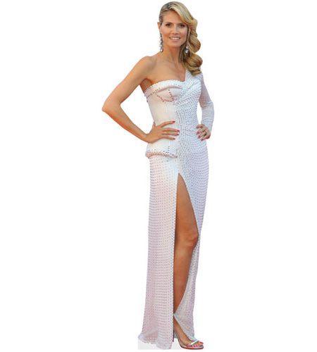 A Lifesize Cardboard Cutout of Heidi Klum wearing a white dress
