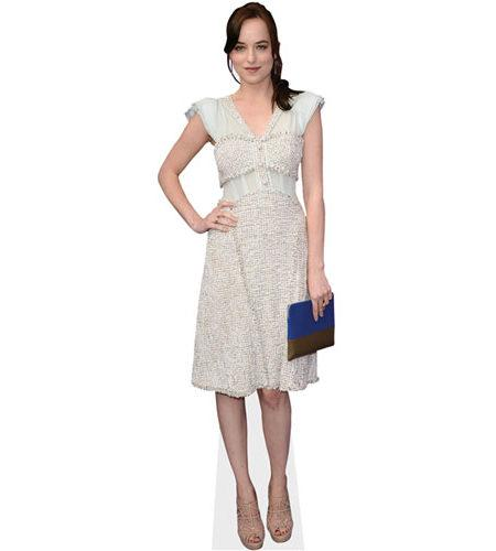 A Lifesize Cardboard Cutout of Dakota Johnson wearing a white dress