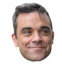 A Cardboard Celebrity Mask of Robbie Williams