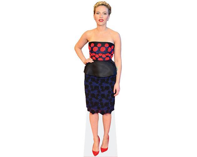 A Lifesize Cardboard Cutout of Scarlett Johansson wearing a red dress
