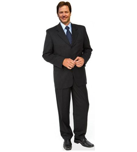 A cardboard cutout of Nick Clegg wearing a suit