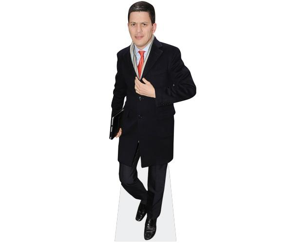A cardboard cutout of David Miliband wearing a coat
