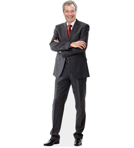 A cardboard cutout of Nigel Farage wearing a suit