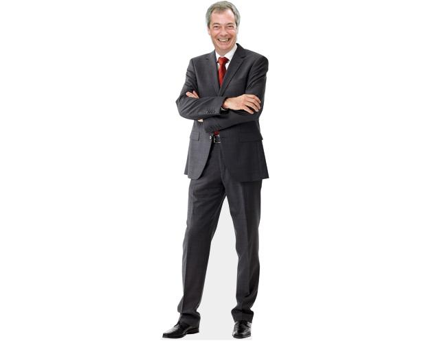 A cardboard cutout of Nigel Farage wearing a suit