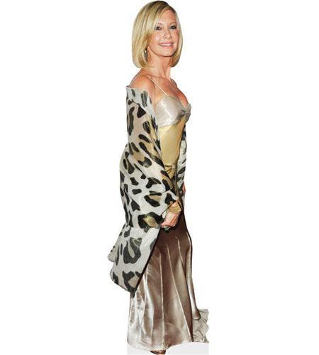 A cardboard cutout of Olivia Newton-John wearing a wrap