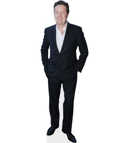 A cardboard cutout of Piers Morgan wearing a suit