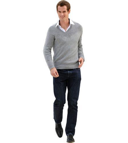 A Lifesize Cardboard Cutout of Andy Murray wearing a sweater