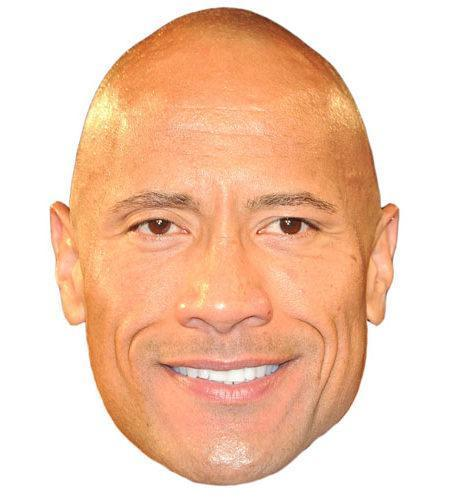 A Cardboard Celebrity Mask of Dwayne Johnson