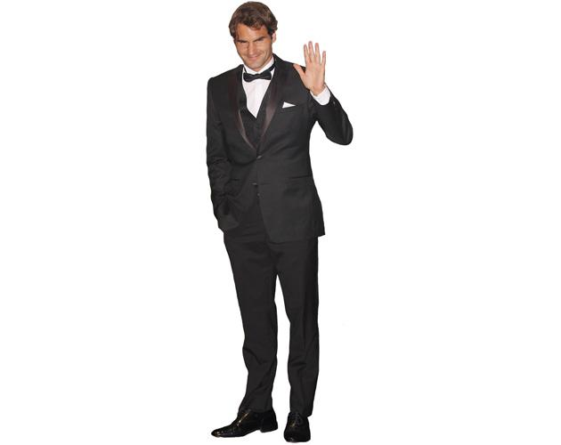 A Lifesize Cardboard Cutout of Roger Federer wearing a bowtie
