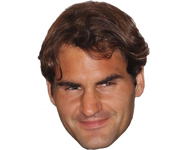 A Cardboard Celebrity Mask of Roger Federer