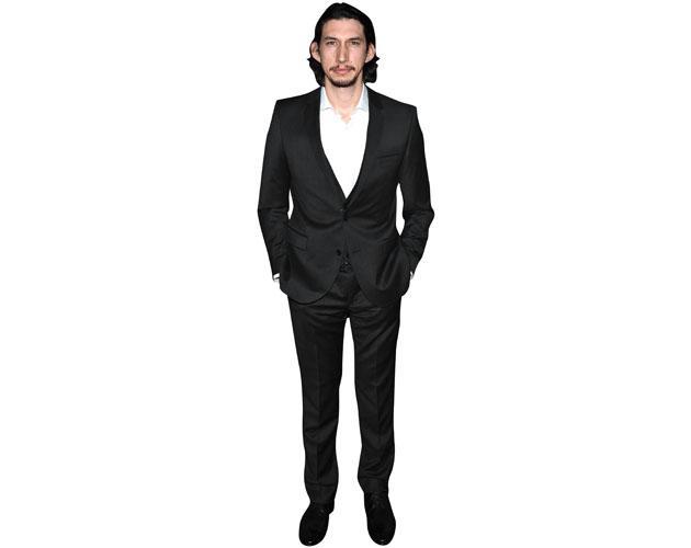 A Lifesize Cardboard Cutout of Adam Driver wearing a suit
