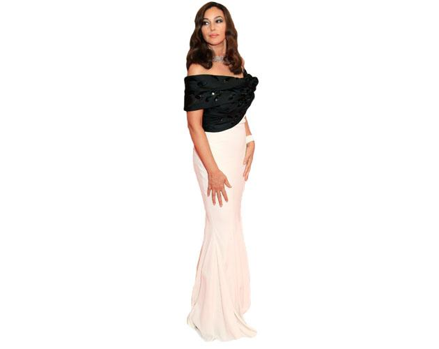 A Lifesize Cardboard Cutout of Monica Bellucci wearing a gown