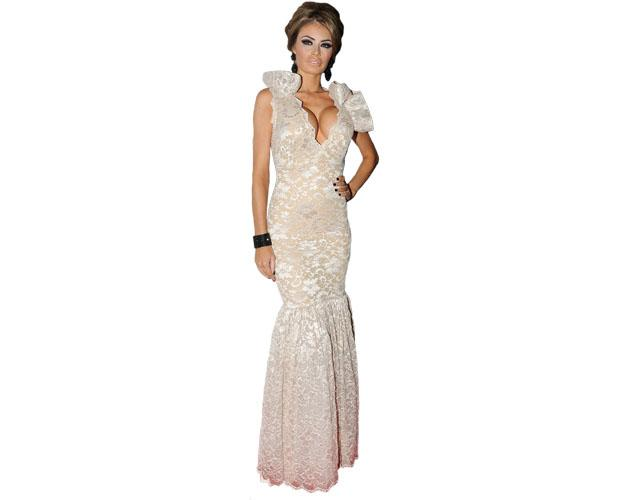 A Lifesize Cardboard Cutout of Chloe Sims wearing a gown