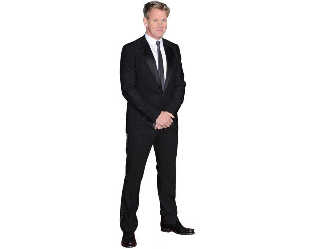 A Lifesize Cardboard Cutout of Gordon Ramsay wearing a suit