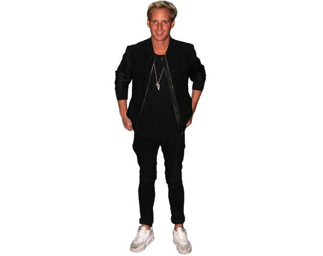 A Lifesize Cardboard Cutout of Jamie Laing wearing trainers