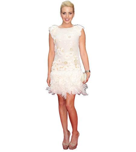 A Lifesize Cardboard Cutout of Lydia Bright wearing a dress
