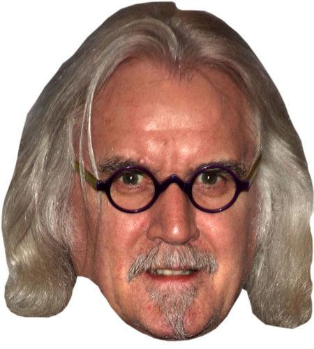 A Cardboard Celebrity Mask of Billy Connolly