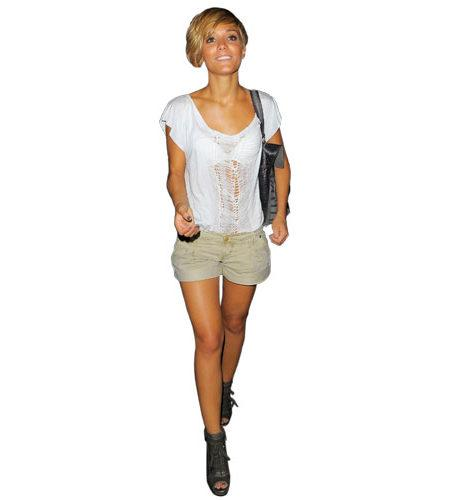 A Lifesize Cardboard Cutout of Frankie Sandford wearing shorts