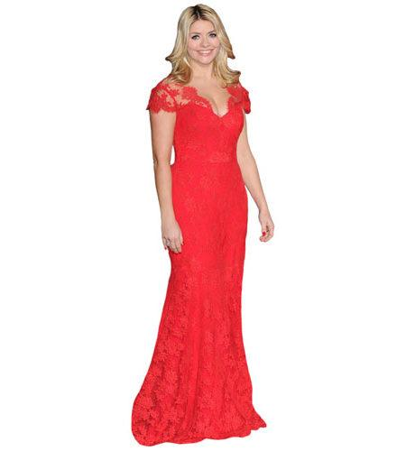 A Lifesize Cardboard Cutout of Holly Willoughby wearing a long red dress
