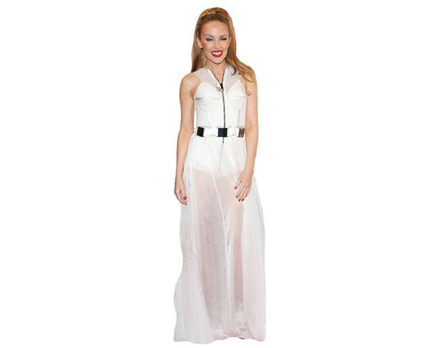 A Lifesize Cardboard Cutout of Kylie Minogue wearing a white dress