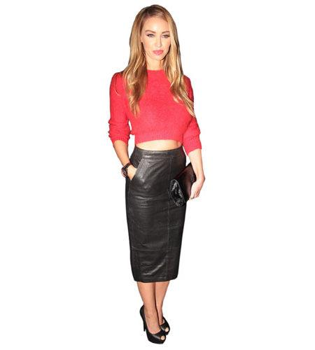 A Lifesize Cardboard Cutout of Lauren Pope wearing a leather skirt
