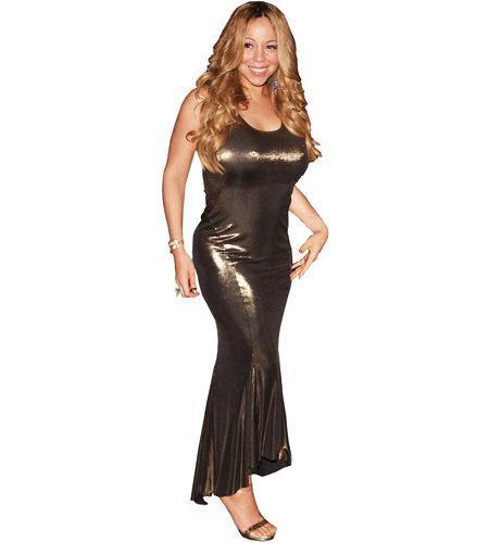 A Lifesize Cardboard Cutout of Mariah Carey wearing a golden dress