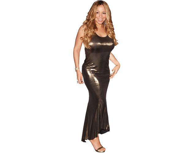 A Lifesize Cardboard Cutout of Mariah Carey wearing a golden dress